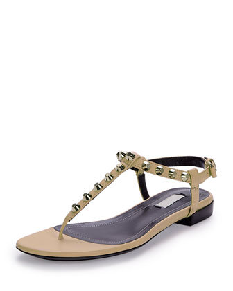 Studded Leather Thong Sandal, Powder (Poudre)