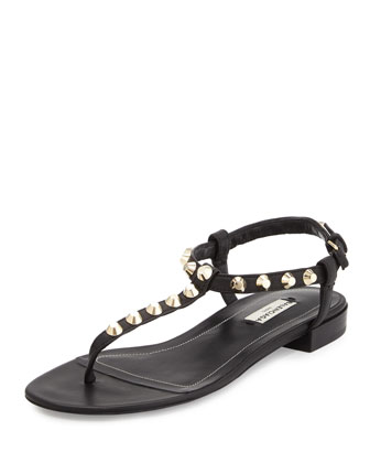 Studded Leather Thong Sandal, Noir