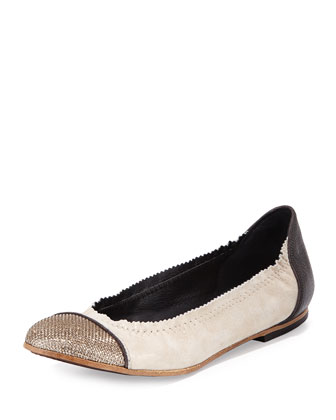 Cap-Toe Suede Ballerina Flat, Beige