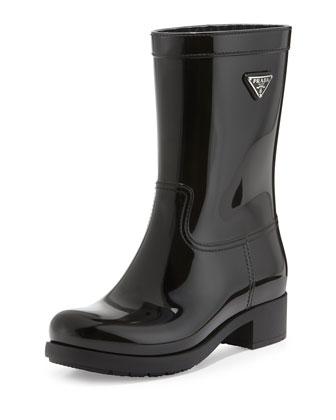 Logo Sport Rubber Rain Boot, Black