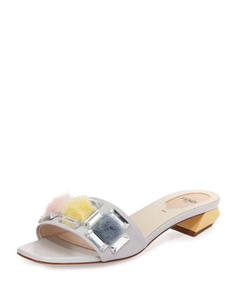 Fantasia Jeweled Slide Sandal, Gray