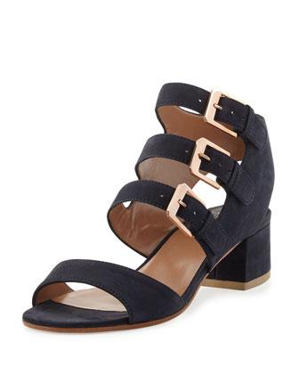 Klio Nubuck Three-Buckle Sandal, Dark Blue
