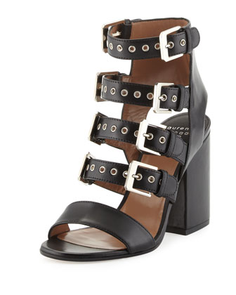 Kloe Leather Buckle Cage Sandal, Black