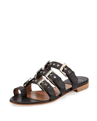 Kim Rivet Leather Slide Sandal, Black