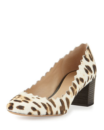 Scalloped Calf-Hair Pump, Snow Leopard