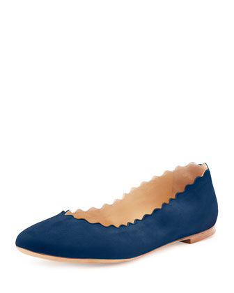 Scalloped Suede Ballerina Flat, Blue Lagoon