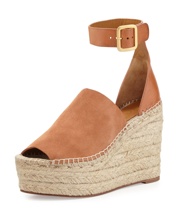 Suede Ankle-Wrap Espadrille Sandal, Camel - Chloe