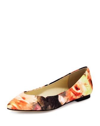 Ponytail Fabric Ballerina Flat, Coventry Floral