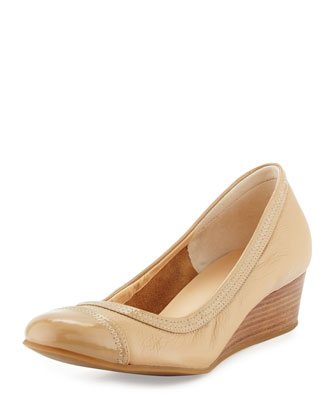 Elsie Cap-Toe Wedge Pump, Sandstone