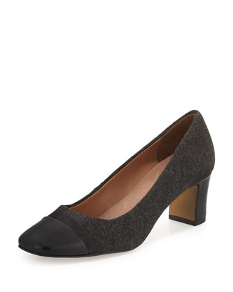Jenna Quilted Cap-Toe Pump, Black/Dark Gray