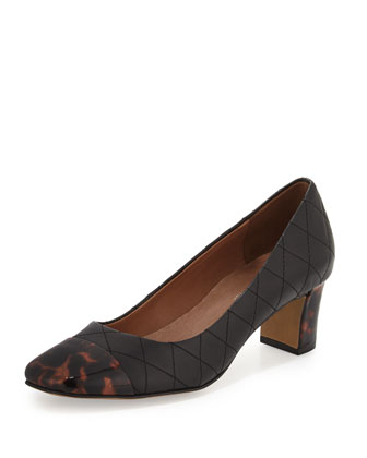 Jenna Quilted Cap-Toe Pump, Black/Natural