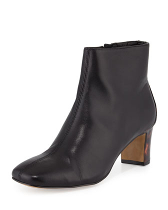 Jax Contrast-Heel Leather Bootie, Black
