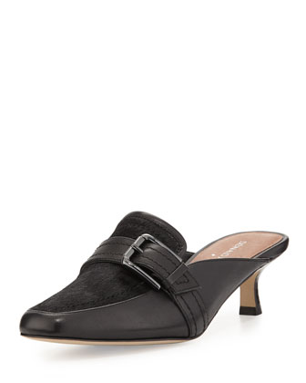 Sierra Calf-Hair Kitten-Heel Mule, Black