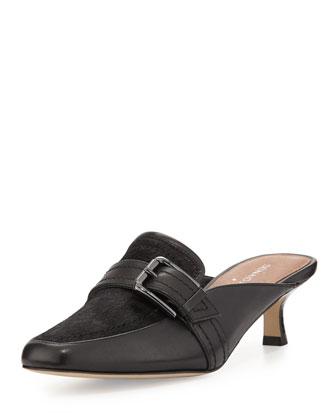 Sierra Calf-Hair Kitten-Heel Mule, Black