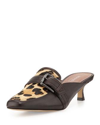Sierra Calf-Hair Kitten-Heel Mule, Leopard