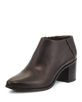 Zig Leather Ankle Boot, Black
