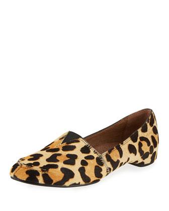 Bamba Calf-Hair Slip-On Loafer, Black/Natural