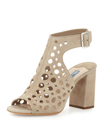 Laser-Cut Suede Sandal, Quarzo