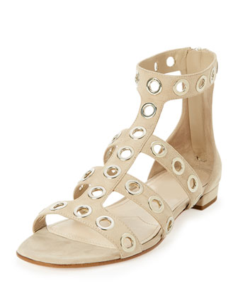 Rivet-Studded Caged Flat Sandal, Quartz