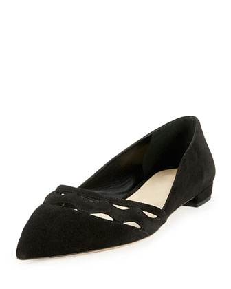 Cutout Suede Pointed-Toe Ballerina Flat, Black