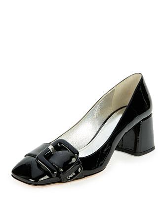 Patent Block-Heel Buckle Pump, Black (Nero)