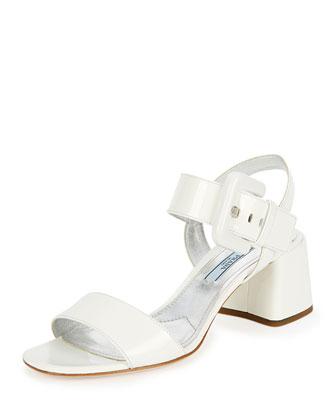 Buckle Patent City Sandal, White (Bianco)