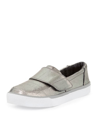 Altair Metallic Leather Slip-On Sneaker, Gunmetal