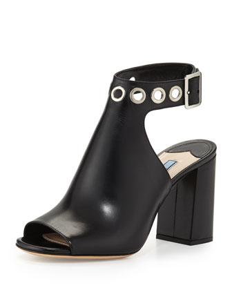 Grommet-Studded Ankle-Wrap Sandal, Black (Nero)