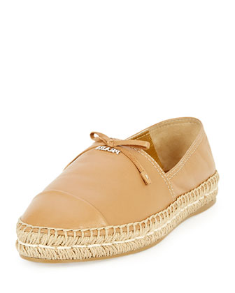 Napa Leather Bow Espadrille, Natural