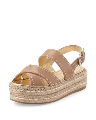 Platform Leather Espadrille Sandal, Natural