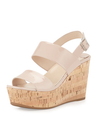 Patent Platform Espadrille Sandal, Cipria