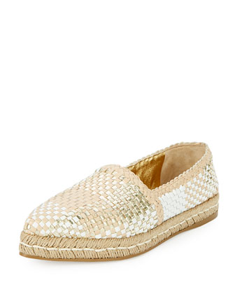 Woven Leather Espadrille Flat, Gold/White