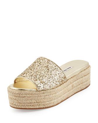 Glitter Platform Espadrille Sandal Slide, Pirite