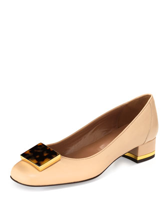 Deena Leather Tortoiseshell-Buckle Pump, Nude