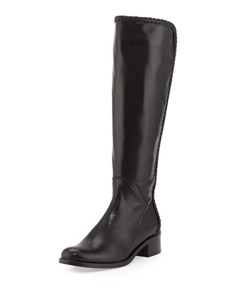 Cadee Braided-Trim Knee Boot, Black