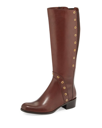 Myrna Grommet-Trim Leather Knee Boot, Tiziano