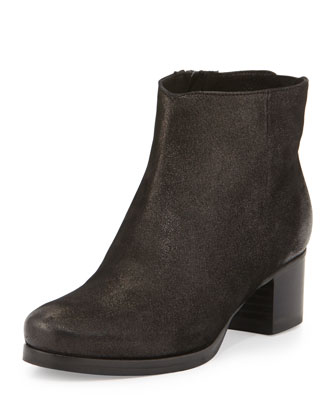 Bailey Printed Suede Bootie, Black
