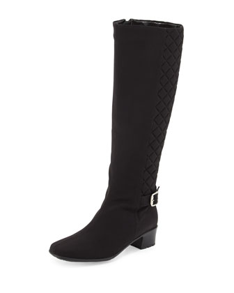 Yolanda Waterproof Quilted Knee Boot, Black