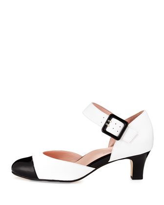 Toody Leather Mary Jane Pump, White