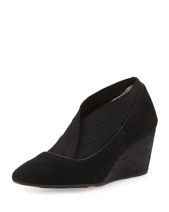 Kikoriki Suede Wedge Bootie, Black