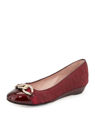 Priya Chain-Link Suede Ballerina Flat, Beet Red