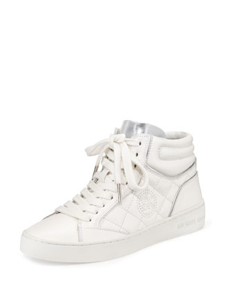 Paige Quilted High-Top Sneaker, Optic White
