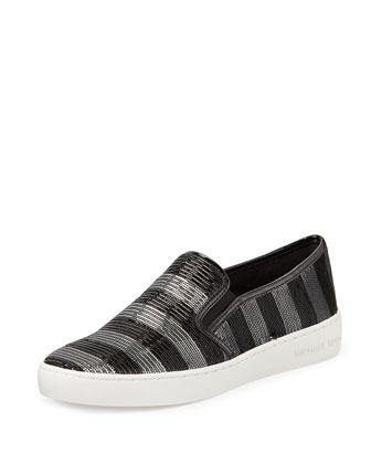 Keaton Striped Sequin Slip-On, Black/Silvertone