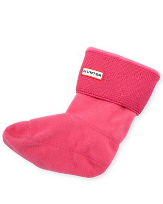 Garter-Stitch Cuff Boot Sock, Bright Cerise
