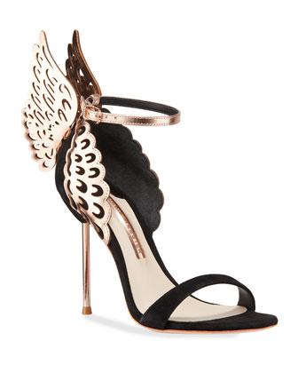 Evangeline Angel Wing Sandal, Black/Rose Gold
