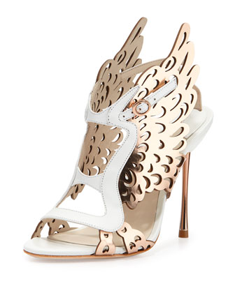 Parisa Laser-Cut Wing Pump, White/Rose Gold