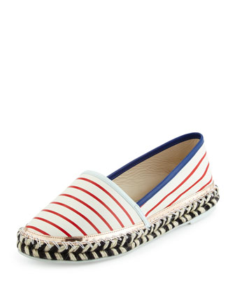 Juana Nautical Leather Espadrille Flat, White/Multi