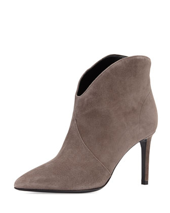 Dipped Suede Ankle Bootie, Anthracite