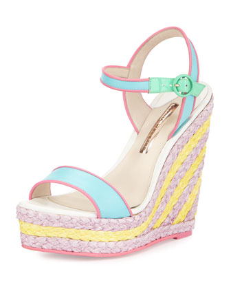 Lucita Leather Espadrille Wedge Sandal, Malibu/Multi