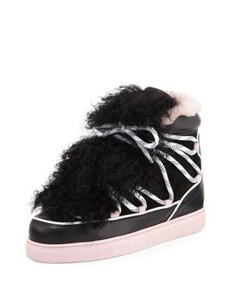 Quentin Two-Tone Fur-Trim Sneaker, Black